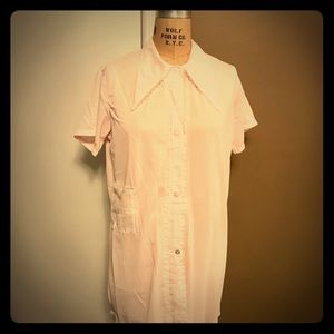 Vintage nylon house coat in pale pink